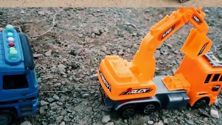 认识工程车玩具 霸王龙打翻挖掘机和翻斗车