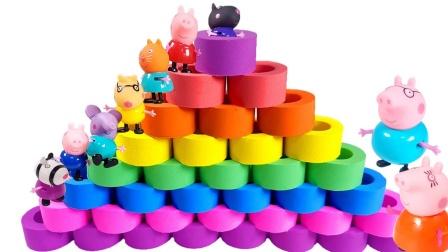 小猪佩奇搭建魔法太空沙金字塔,太好玩了