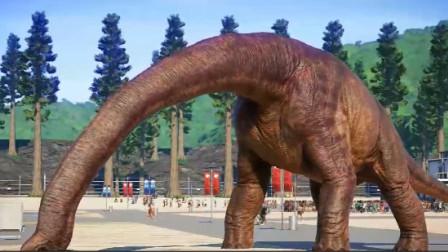 恐龙世界:腕龙喝水是不是太费劲了,脖子太长了