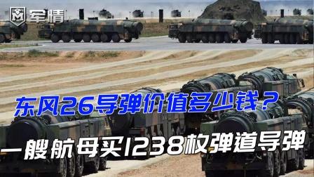 东风26导弹价值多少钱?美议员:一艘航母买1238枚弹道导弹