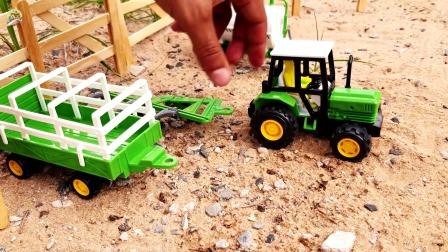 拆箱组装农机拖拉机玩具,栅栏和大花牛玩具