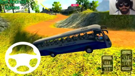 好玩的游戏:驾驶大巴车到指定位置,差点翻车了