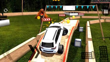 好玩的游戏:驾驶白色小车闯关,上面好多大石头