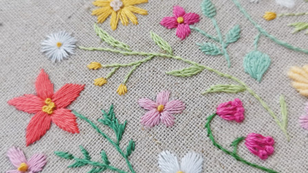 手工刺绣——盼春来(2),嫩绿的枝条和粉嘟嘟的花,春天的模样