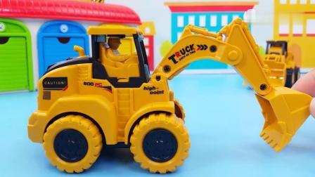 早教益智:一按就会跑的惯性工程车玩具,很好玩的挖掘机和推土车