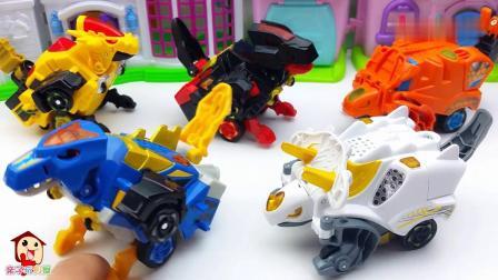 早教益智:会说话的变形恐龙玩具棘背龙和三角龙