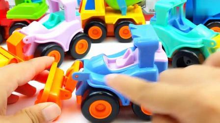 早教益智:儿童惯性工程车玩具车 挖掘机推土车和吊车