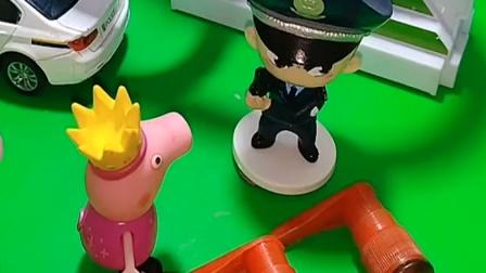 佩琪和乔治来找警察叔叔,它们看到了怪兽,警察叔叔让它们躲到身后