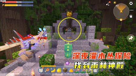 迷你世界雨林生存2:老墨深夜在灌木丛探险,意外找到雨林神殿