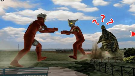 雷欧奥特曼和弟弟阿斯特拉展开决斗,却不管一旁的怪兽,真奇葩