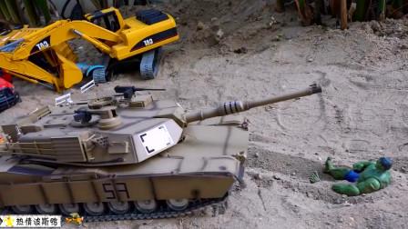 儿童挖掘机,绿巨人攻击工程车辆,坦克大战绿巨人。