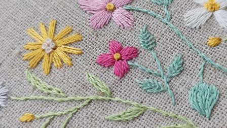 手工刺绣——盼春来(3),红花绿叶黄蕊,这满园春色关都关不住