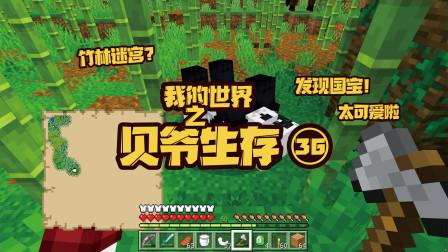我的世界贝爷生存36:竹林遇到大熊猫,样子很可爱,动作憨憨的!