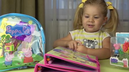萌娃小可爱有一个小书包好好多书,小可爱要学习吗