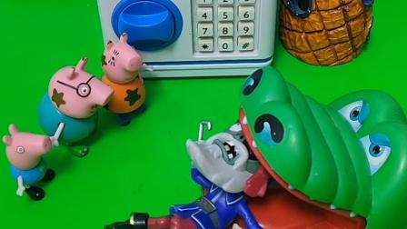 大鳄鱼看见了乔治的魔法棒,还要吃下去呢