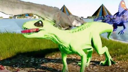 恐龙:趁别的恐龙在战斗的时候去偷食物迅猛龙,太可爱了