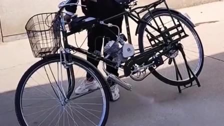 以前的自行车已经不流行了,商家稍加改装,就变成了复古机车!