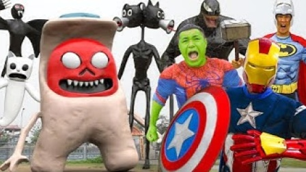 真人特效恶搞:合体超级英雄VS外星怪物