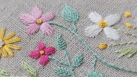 手工刺绣——盼春来4,缎面绣一股绣线绣花瓣,过程麻烦成品精致