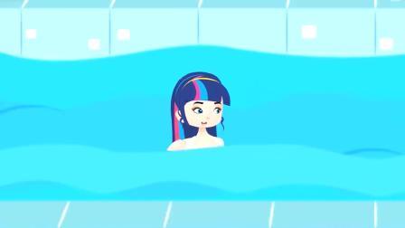 童话故事:男孩和女孩的搞笑游泳比赛,谁胜谁输呢