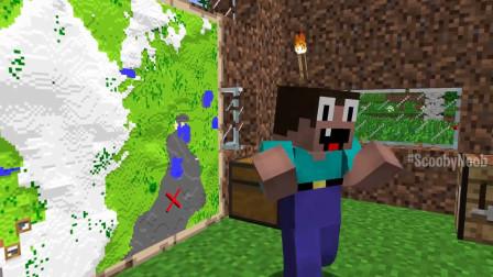 我的世界动画-菜鸟的荒岛寻宝