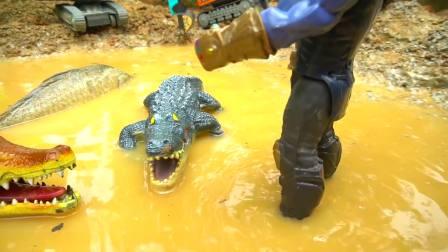 儿童亲子互动,大鳄鱼来袭蜘蛛侠,警察车消防车前来支援
