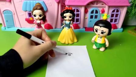 画小鸭子比赛,白雪和贝儿谁画的好呢