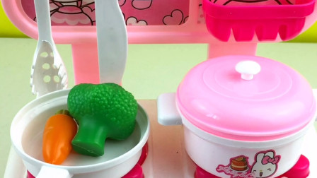 厨房过家家玩具,今天烧西蓝花炒胡萝卜