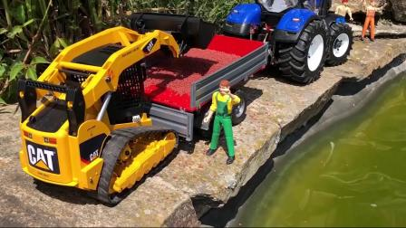玩具工厂汽车实拍挖掘机给小鱼运送鱼食