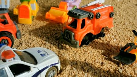 警车帮工程车找回车轮子 亲子益智