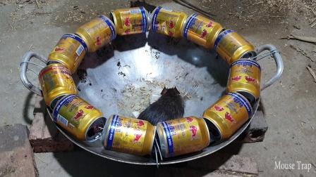 用油锅和易拉罐制作的奇特捕鼠器,能捉到老鼠吗?