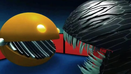 吃豆人动画:黑吃豆人和机械吃豆人谁更厉害?