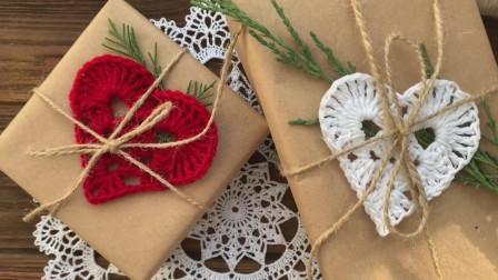 毛线编织教学,心形图案的钩织方法!