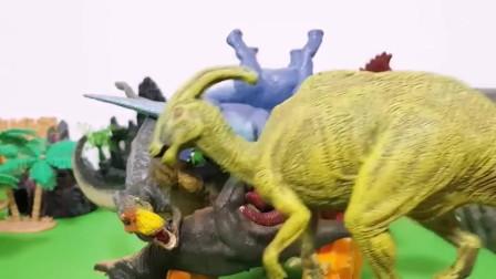 侏罗纪恐龙玩具,霸王龙冠龙三角龙儿童趣味识恐龙名字。