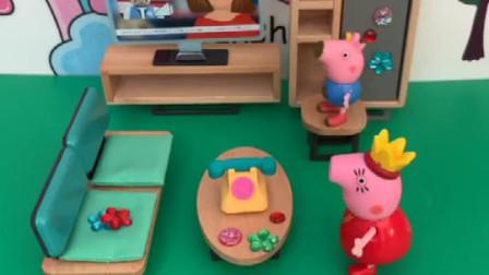 猪妈妈新买了一套家具,结果被乔治贴满了贴画