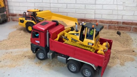 卡车运输迷你压路机玩具