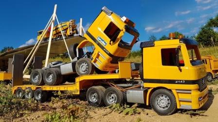 大卡车运输零件组装起重机