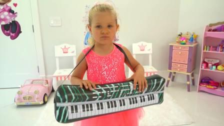 快乐亲子,戴安娜为孩子们表演才艺,小吉他弹奏的有模有样