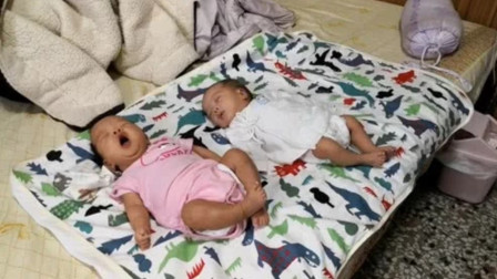 刚出生不久的龙凤胎萌宝宝一起睡觉,姐姐睡醒了,弟弟却还在睡!
