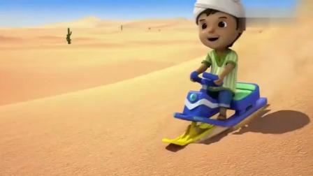 超级飞侠:小男孩有志气,想在沙漠里玩雪橇,这脑洞是真大