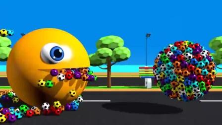 自制吃豆人:吃豆人吃彩色足球和棒棒糖