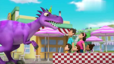 汪汪队:亚力看到了霸王龙,吓得带上爷爷,赶紧爬上小树屋!