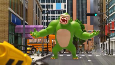 迷你特工队小杰变坏了?邪恶的绿巨猴,一拳打飞弗特!
