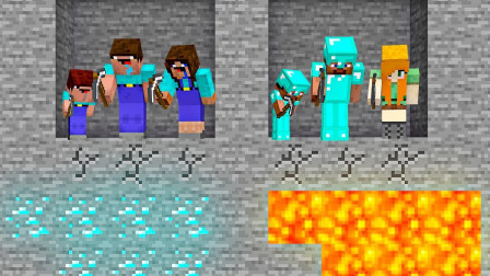 我的世界:天道好轮回 阿呆挖到钻石致富而史蒂夫掉进了岩浆!