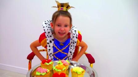 儿童亲子互动,女孩和妈妈玩游戏,魔法棒变魔法漂亮公主裙