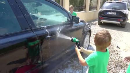 儿童亲子互动,洗车歌童谣与孩子和玩具,快来看看吧