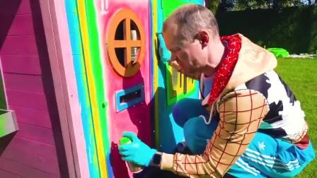 萌娃小可爱玩具车真漂亮!,一萌娃:我开玩具车给爸爸送油漆。