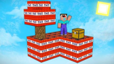 我的世界MC动画:菜鸟能在TNT天空模块上生存吗