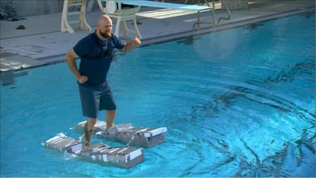 国外小哥自制纸板鞋,妄想实现水上行走?看完只能感叹科学伟大!