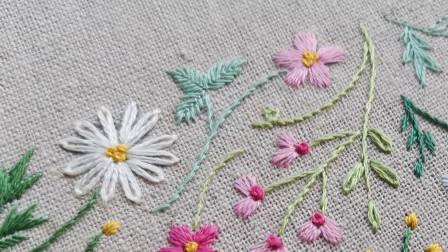 手工刺绣——盼春来6,加入飞鸟绣的叶子,春天的花园越来越丰富